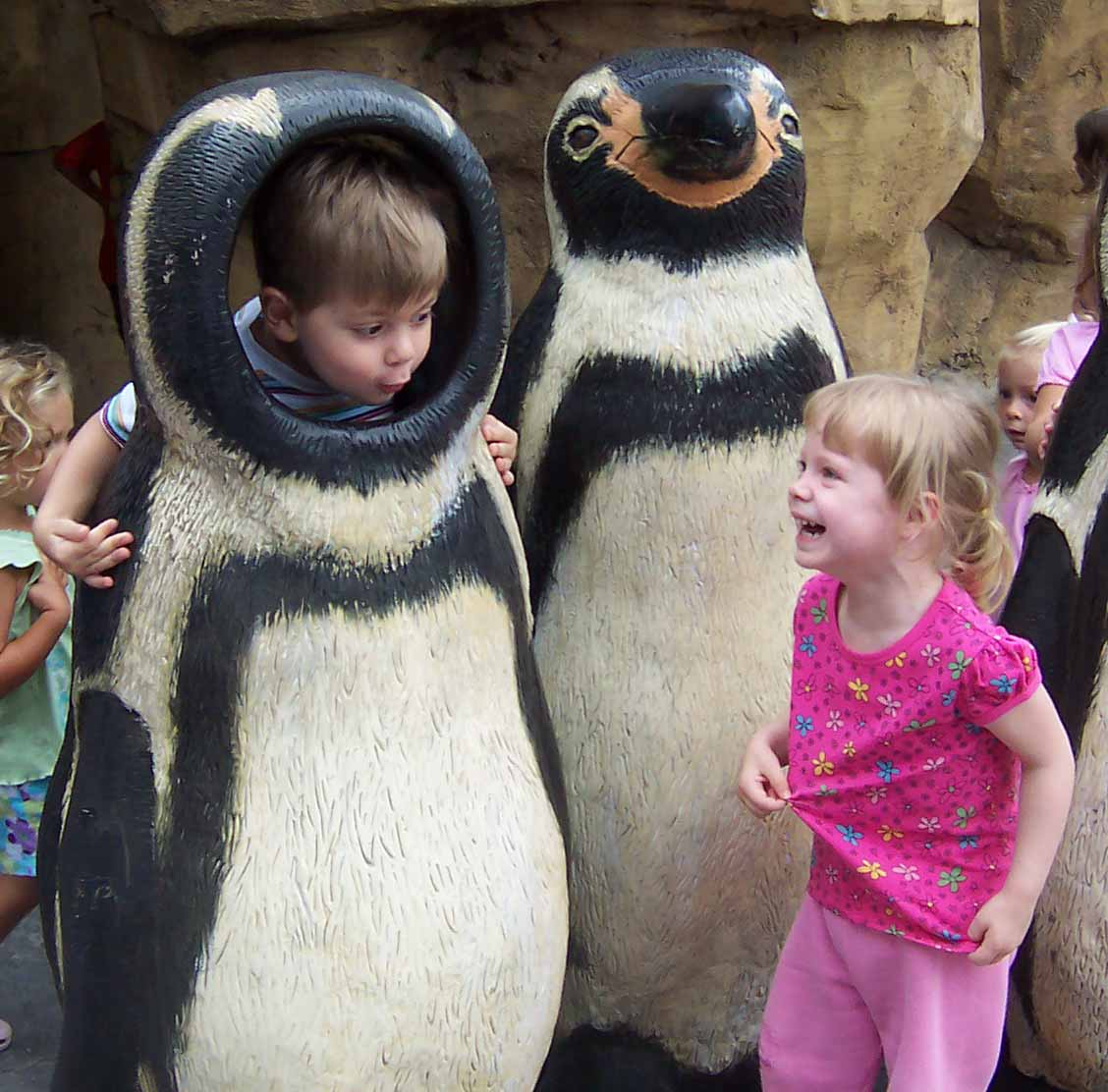 Rose and AJ enjoying the Penguin photo spot!