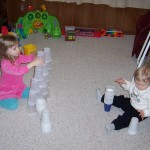 Rose and Jack have their own ways of stacking cups!